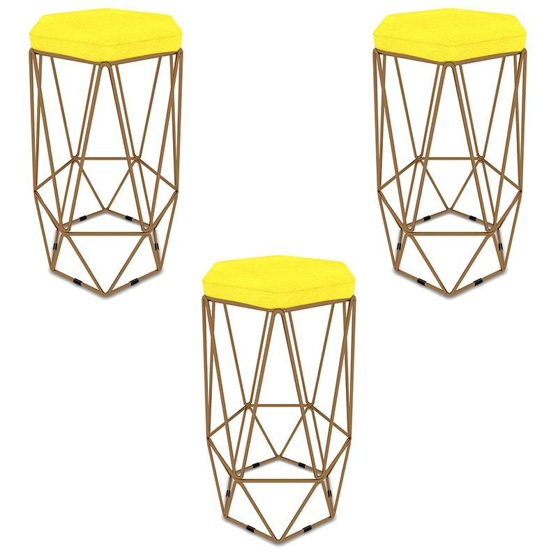 Kit 3 Banquetas Aramado Hexagonal Base de Ferro Cobre Suede Amarelo - Sheep Estofados