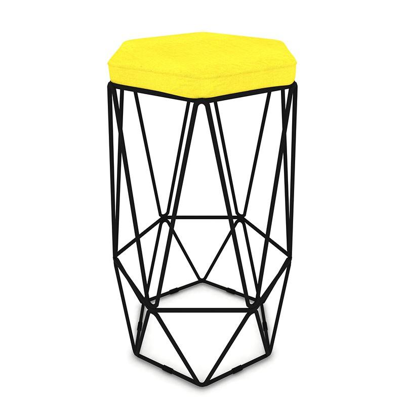 Kit 3 Banquetas Aramado Hexagonal Base de Ferro Preta Suede Amarelo - Sheep Estofados