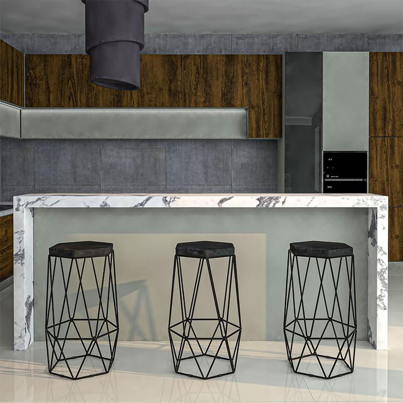 Kit 3 Banquetas Aramado Hexagonal Base de Ferro Preta Suede Preto - Sheep Estofados