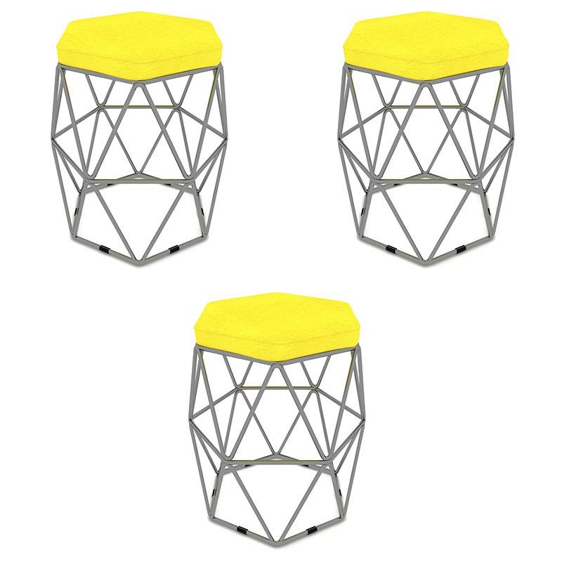 Kit 3 Puffs Aramado Hexagonal Base de Ferro Cinza Suede Amarelo - Sheep Estofados