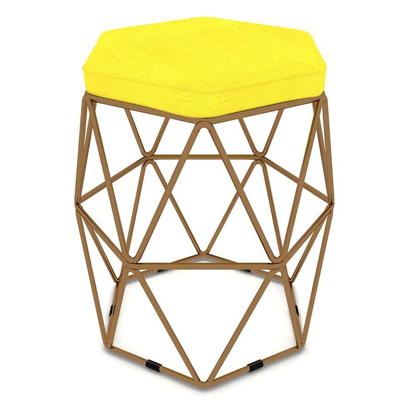 Kit 3 Puffs Aramado Hexagonal Base de Ferro Cobre Suede Amarelo - Sheep Estofados