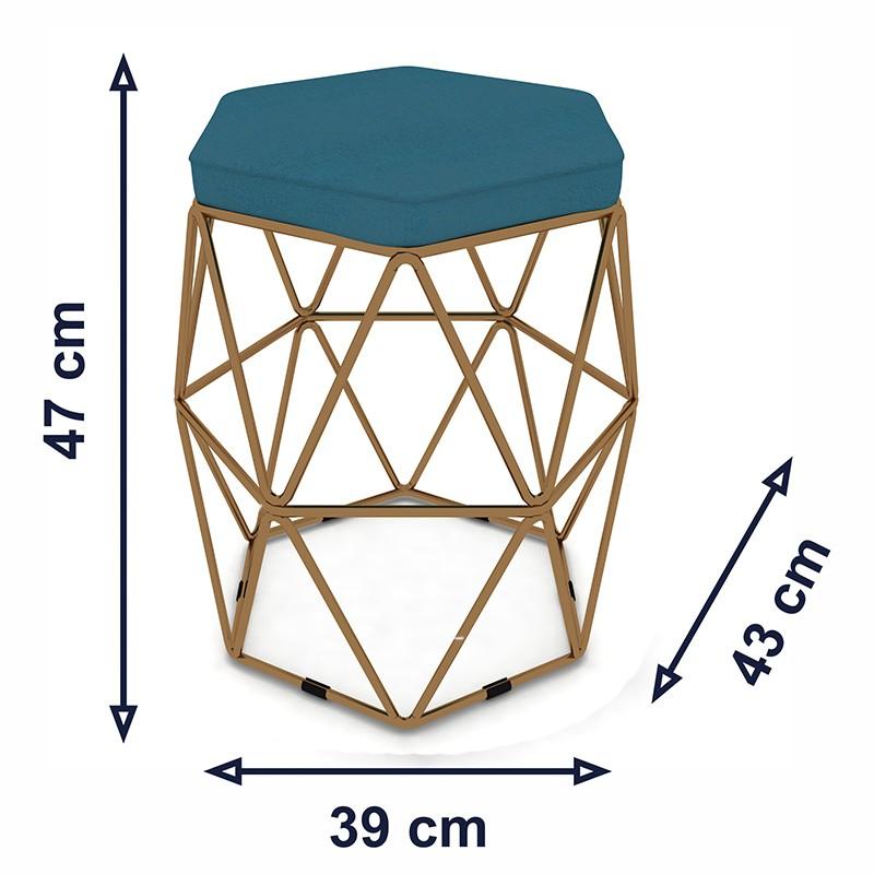 Kit 3 Puffs Aramado Hexagonal Base de Ferro Cobre Suede Turqueza - Sheep Estofados