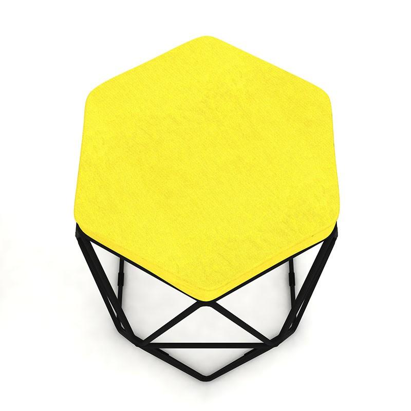 Kit 3 Puffs Aramado Hexagonal Base de Ferro Preta Suede Amarelo - Sheep Estofados