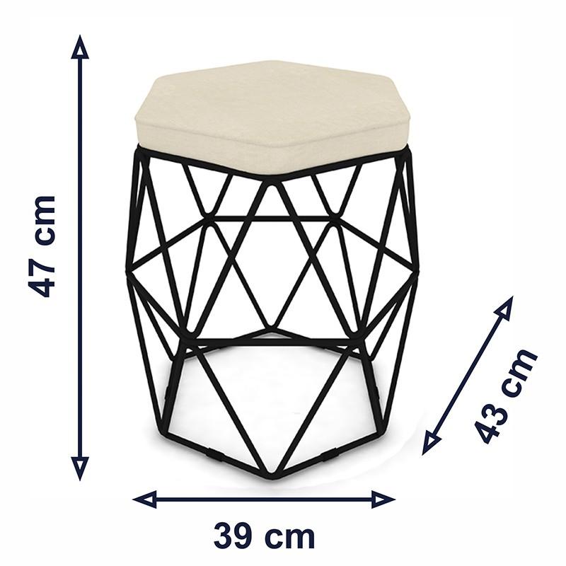 Kit 3 Puffs Aramado Hexagonal Base de Ferro Preta Suede Bege - Sheep Estofados