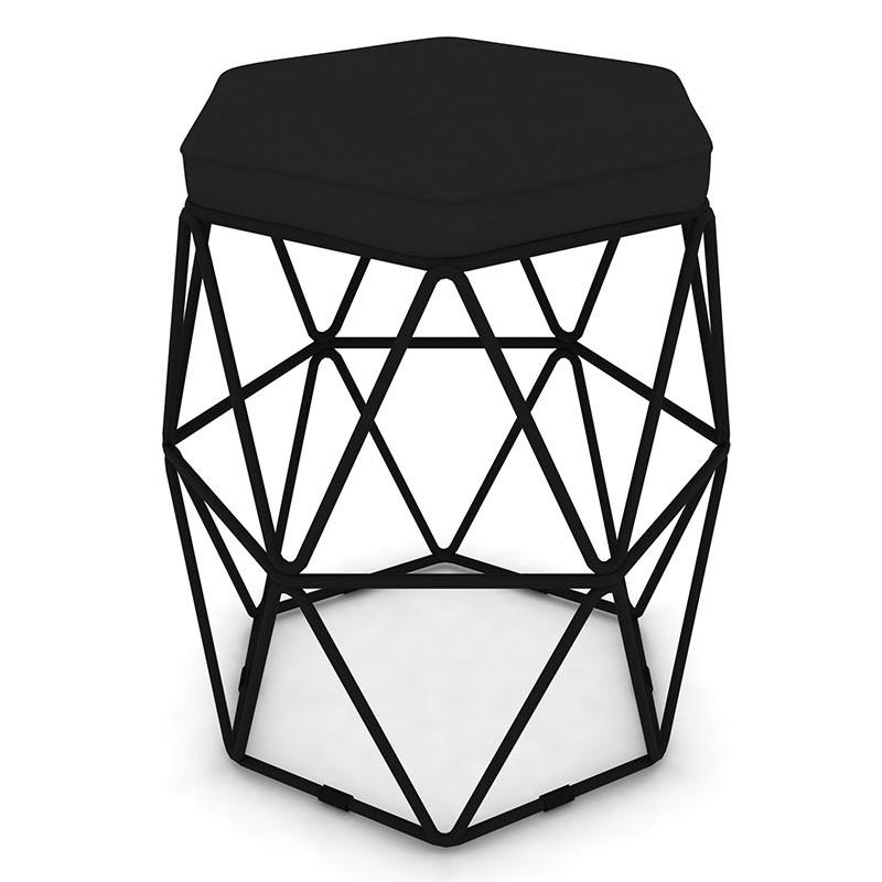 Kit 3 Puffs Aramado Hexagonal Base de Ferro Preta Suede Preto - Sheep Estofados