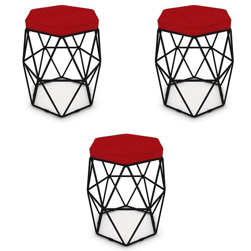 Kit 3 Puffs Aramado Hexagonal Base de Ferro Preta Suede Vermelho - Sheep Estofados
