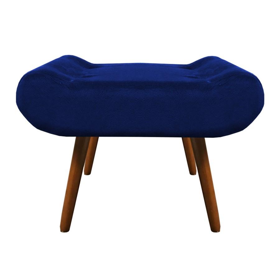 Kit 3 Puffs Decorativos Muu Pés Palito Suede Azul Marinho - Sheep Estofados