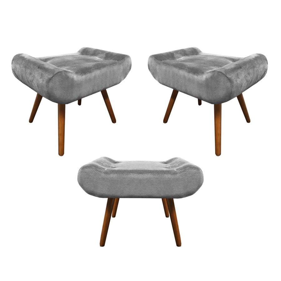 Kit 3 Puffs Decorativos Muu Pés Palito Suede Cinza Claro - Sheep Estofados