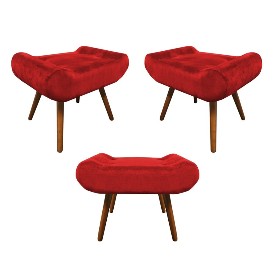 Kit 3 Puffs Decorativos Muu Pés Palito Suede Vermelho - Sheep Estofados