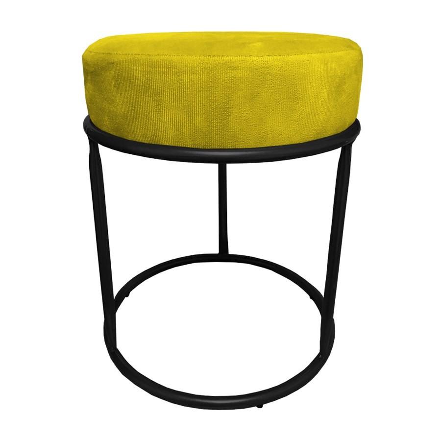 Kit 3 Puffs Decorativos Redondos Luxe Base de Aço Preta Suede Amarelo - Sheep Estofados