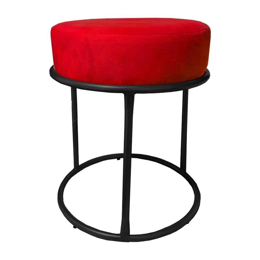 Kit 3 Puffs Decorativos Redondos Luxe Base de Aço Preta Suede Vermelho - Sheep Estofados