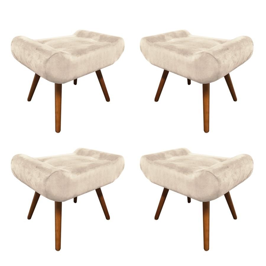 Kit 4 Puffs Decorativos Muu Pés Palito Suede Bege - Sheep Estofados