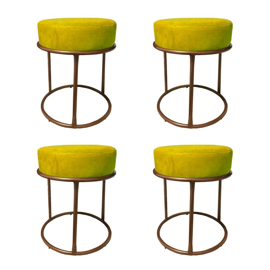 Kit 4 Puffs Decorativos Redondos Luxe Base de Aço Cobre Suede Amarelo - Sheep Estofados