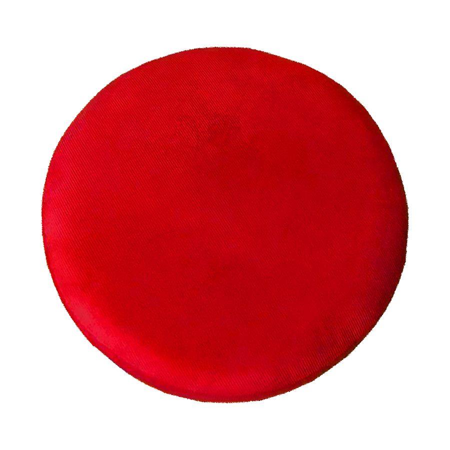 Kit 4 Puffs Decorativos Redondos Luxe Base de Aço Preta Suede Vermelho - Sheep Estofados
