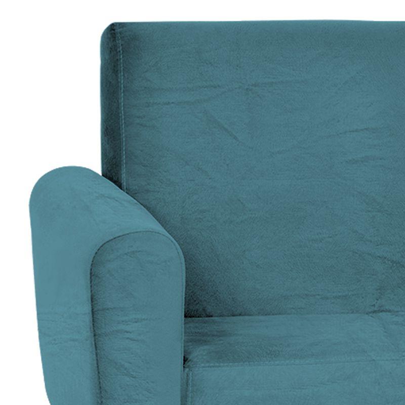 Poltrona Decorativa Bruna Base Giratória Suede Azul - Matrix
