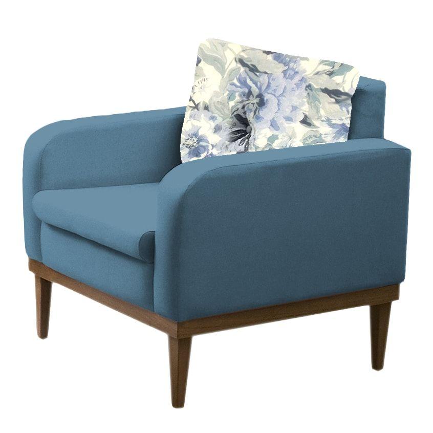 Poltrona Decorativa  Ágata Azul - Estoara
