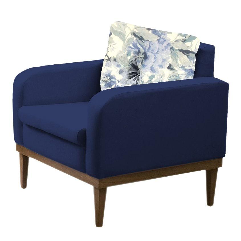 Poltrona Decorativa  Ágata Azul Marinho- Estoara