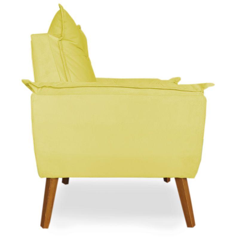 Poltrona Decorativa Apolo Pés Madeira Suede Amarelo - Sheep Estofados