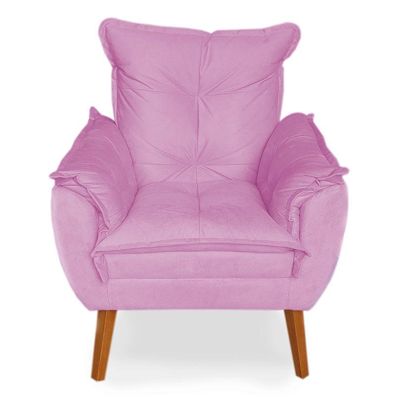 Poltrona Decorativa Apolo Pés Madeira Veludo Pink - Sheep Estofados
