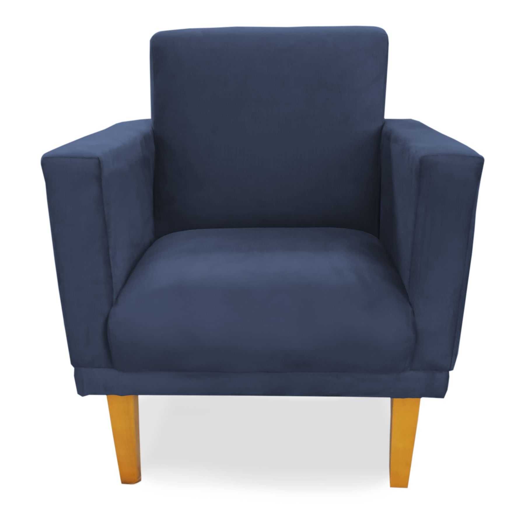 Poltrona Decorativa Conforto Pés Madeira Suede Azul - Sheep Estofados