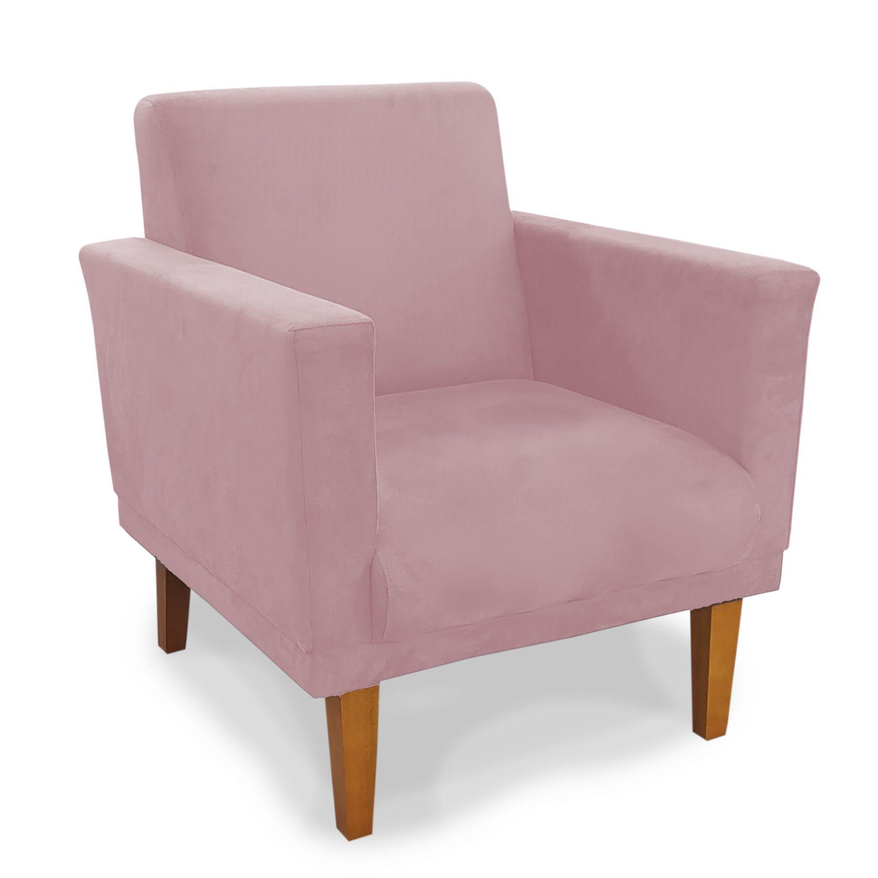 Poltrona Decorativa Conforto Pés Madeira Suede Rosa - Sheep Estofados