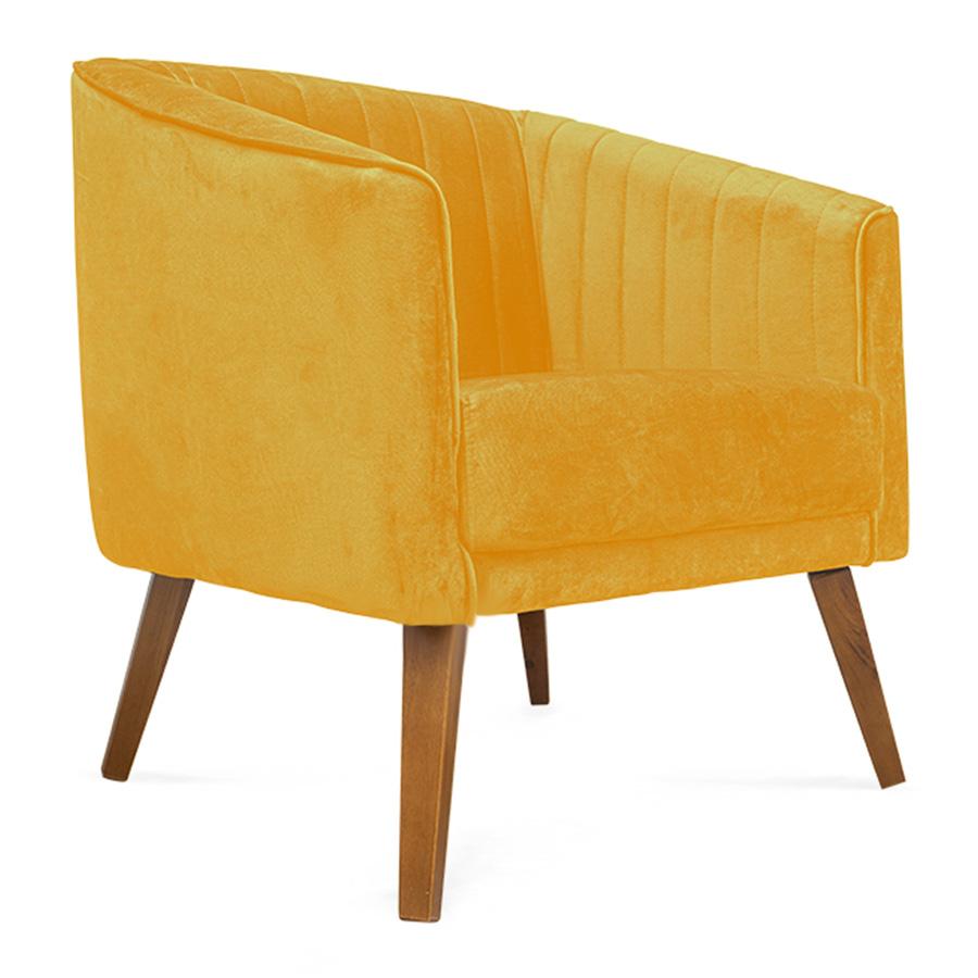 Poltrona Decorativa Dalia Pés de Madeira Suede Amarelo - Sheep Estofados