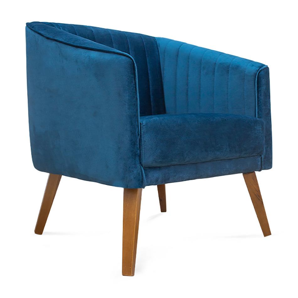 Poltrona Decorativa Dalia Pés de Madeira Suede Azul - Sheep Estofados