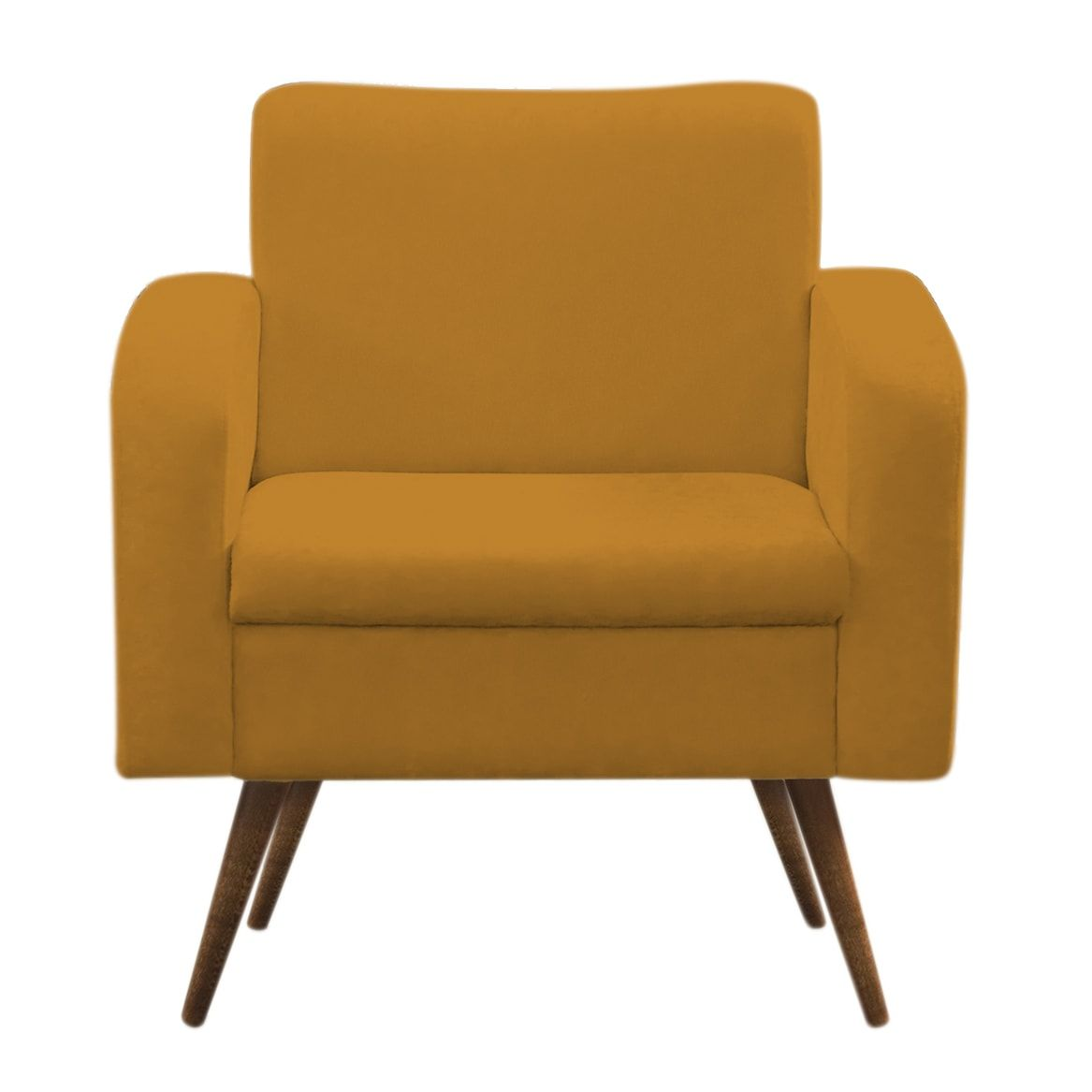 Poltrona Decorativa  Jade Amarelo Pés Palito
