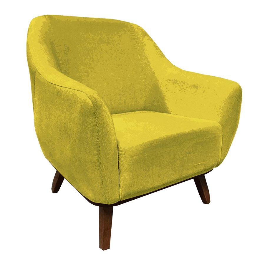 Poltrona Decorativa Jessica Pés de Madeira Suede Amarelo - Sheep Estofados