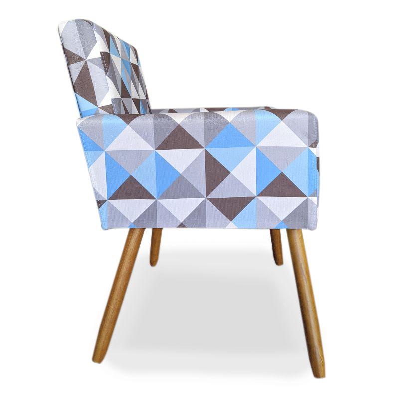 Poltrona Decorativa Nina Pés Palito Suede Triângulo Azul - Sheep Estofados