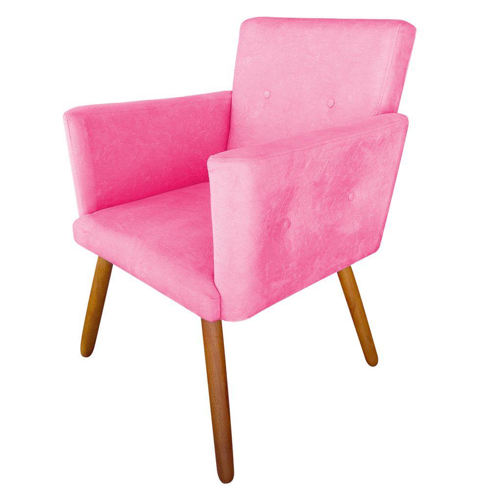 Poltrona Decorativa Nina Plus Veludo Pink - Sheep Estofados