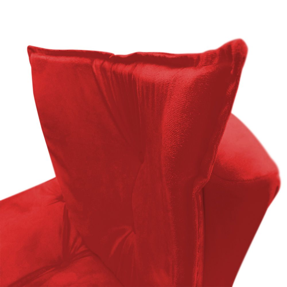 Poltrona Decorativa Pés Palito Emília Plus Suede Vermelho