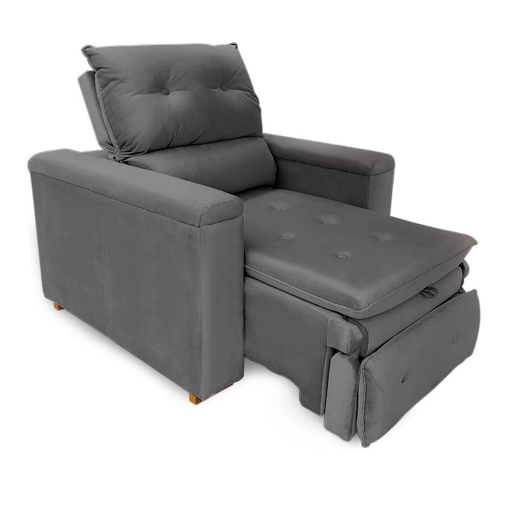 Poltrona Reclinável Retrátil Onix Veludo Cinza Escuro - Sheep Estofados