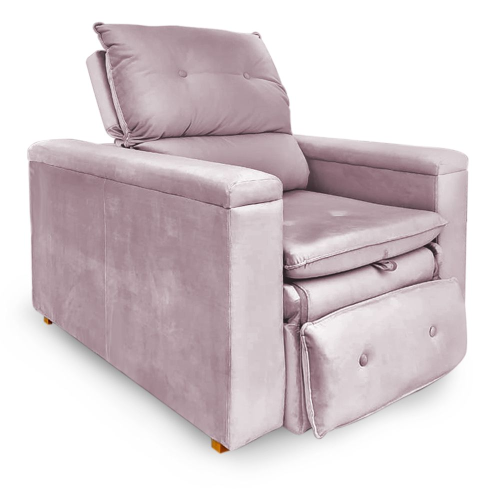 Poltrona Reclinável Retrátil Onix Veludo Liso Rosa - Sheep Estofados