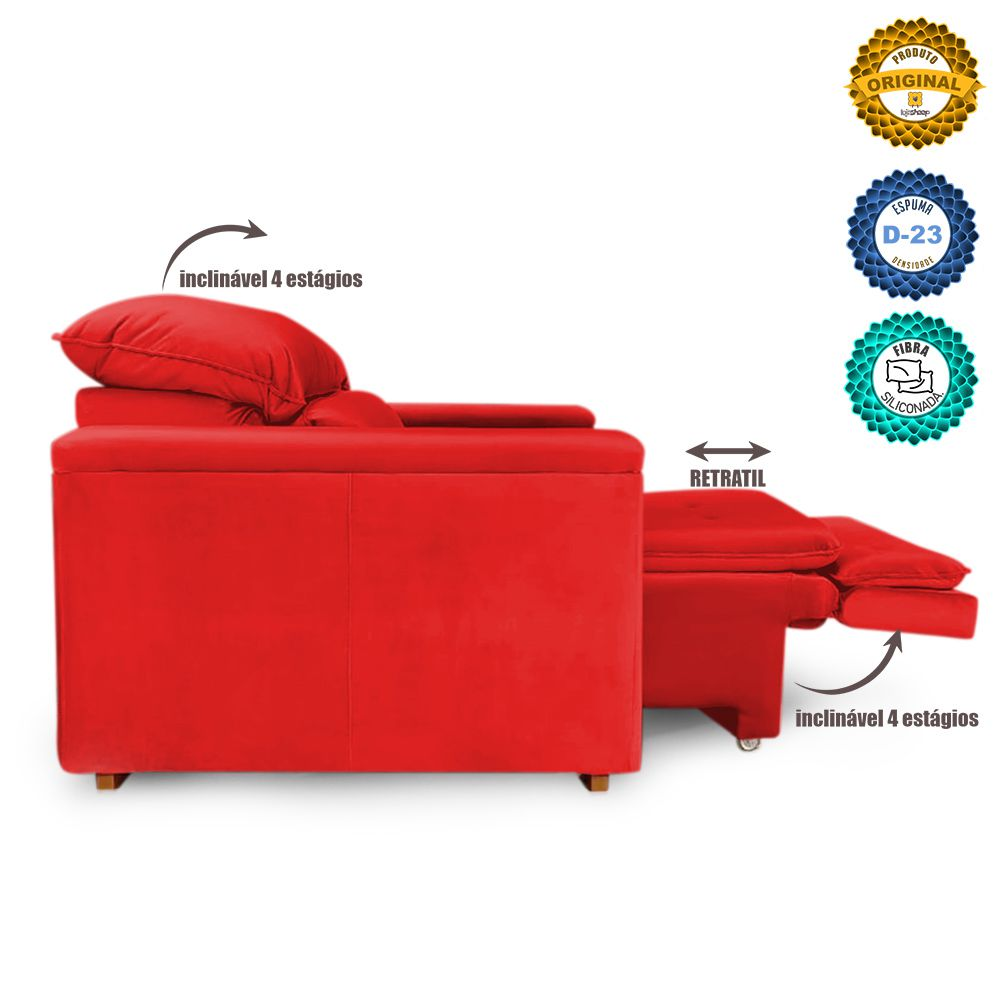 Poltrona Reclinável Retrátil Onix Veludo Vermelho - Sheep Estofados