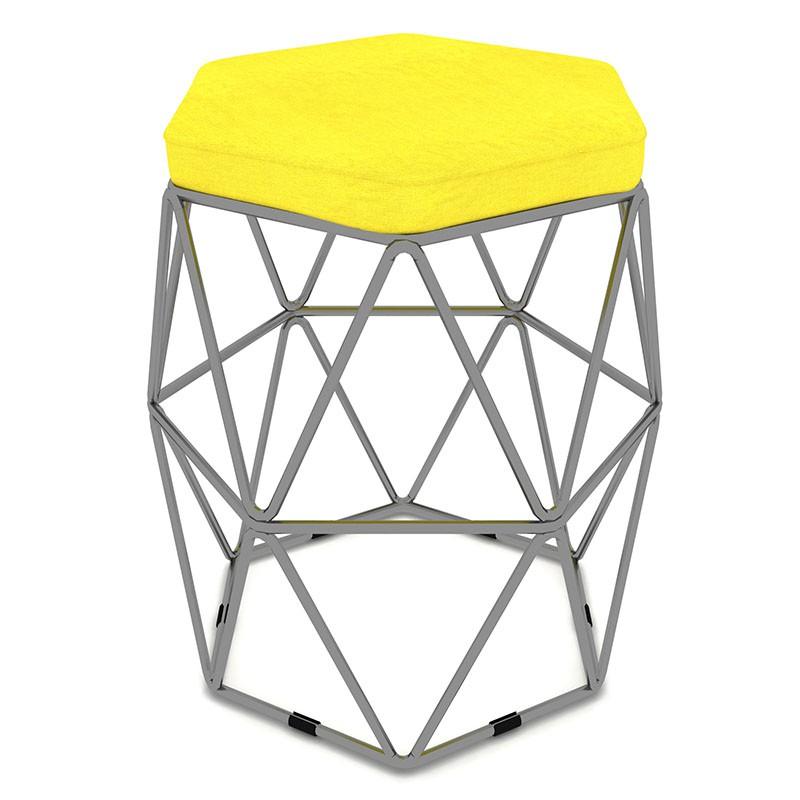 Puff Aramado Hexagonal Base de Ferro Cinza Suede Amarelo - Sheep Estofados