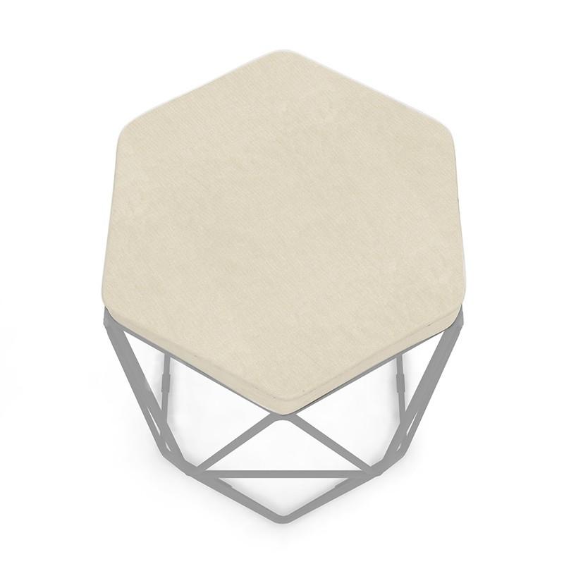 Puff Aramado Hexagonal Base de Ferro Cinza Suede Bege - Sheep Estofados