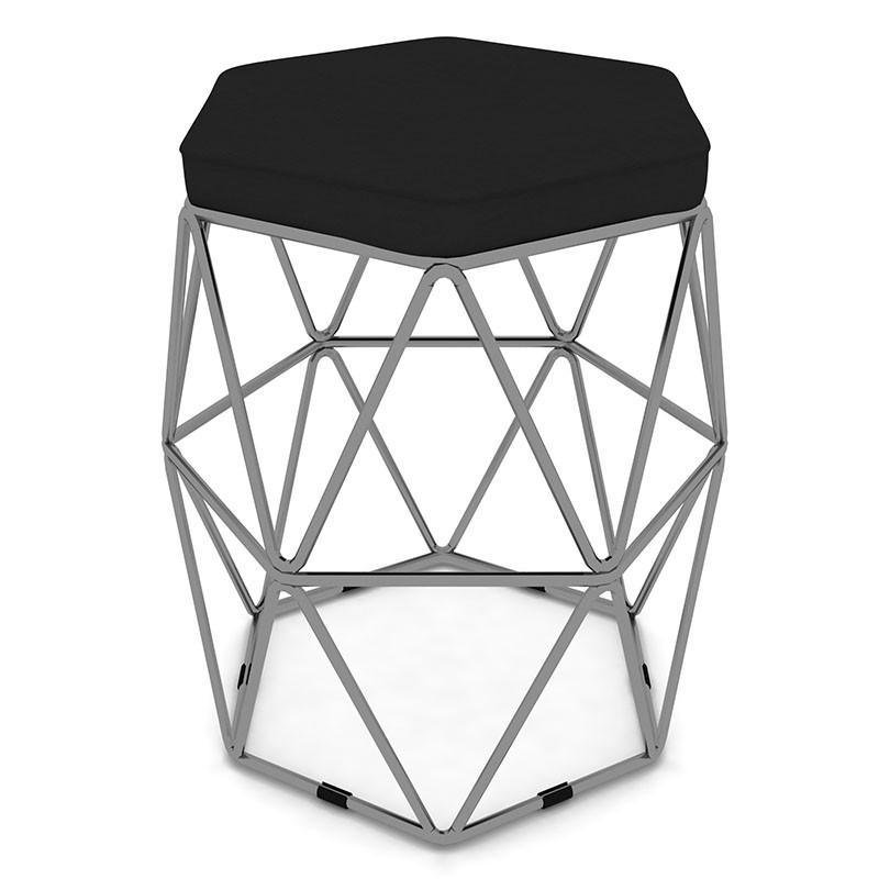 Puff Aramado Hexagonal Base de Ferro Cinza Suede Preto - Sheep Estofados