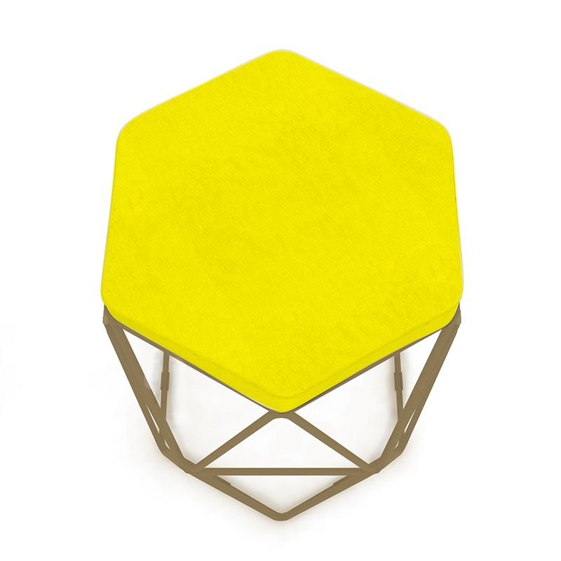 Puff Aramado Hexagonal Base de Ferro Cobre Suede Amarelo - Sheep Estofados
