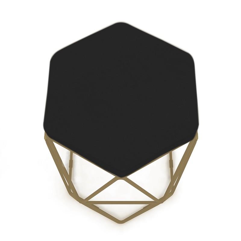 Puff Aramado Hexagonal Base de Ferro Cobre Suede Preto - Sheep Estofados