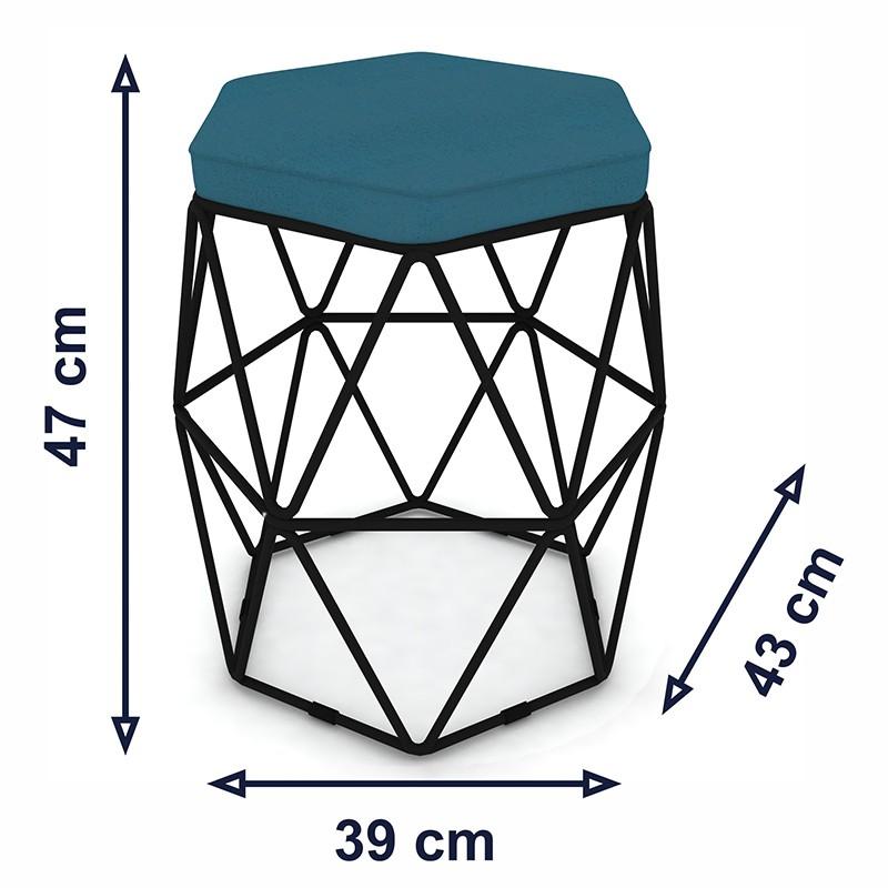 Puff Aramado Hexagonal Base de Ferro Preta Suede Turquesa - Sheep Estofados