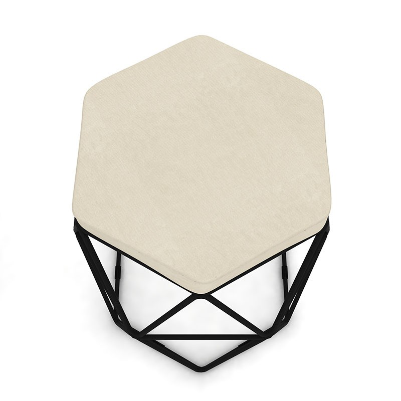 Puff Aramado Hexagonal Base de Ferro Preta Suede Bege - Sheep Estofados