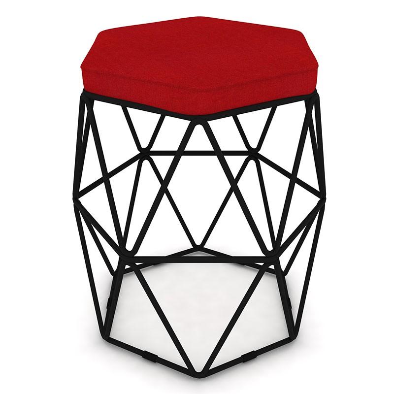 Puff Aramado Hexagonal Base de Ferro Preta Suede Vermelho - Sheep Estofados