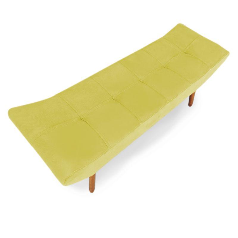 Puff Banqueta 90cm Maya Pés Palito Suede Amarelo - Sheep Estofados