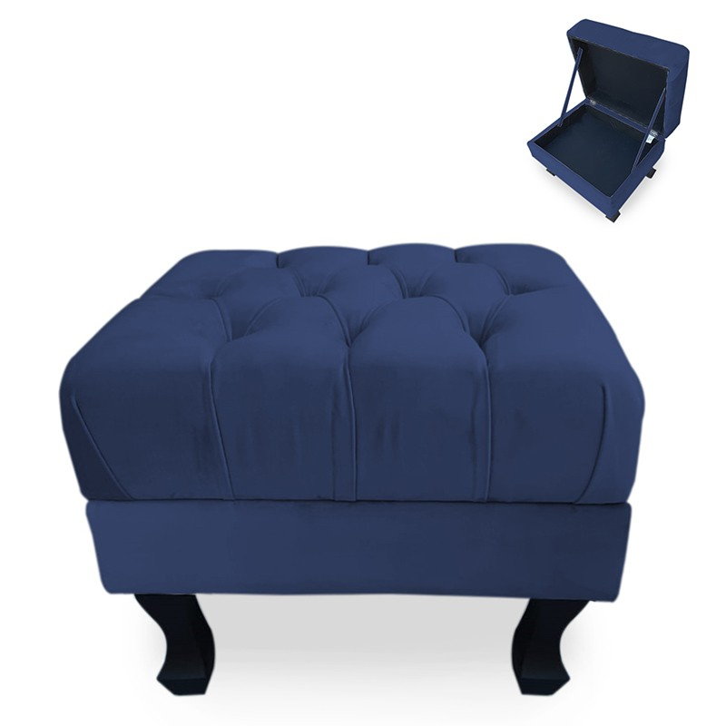 Puff Baú Decorativo Capitonê Luis XV 50x40cm Suede Azul Escuro - Sheep Estofados