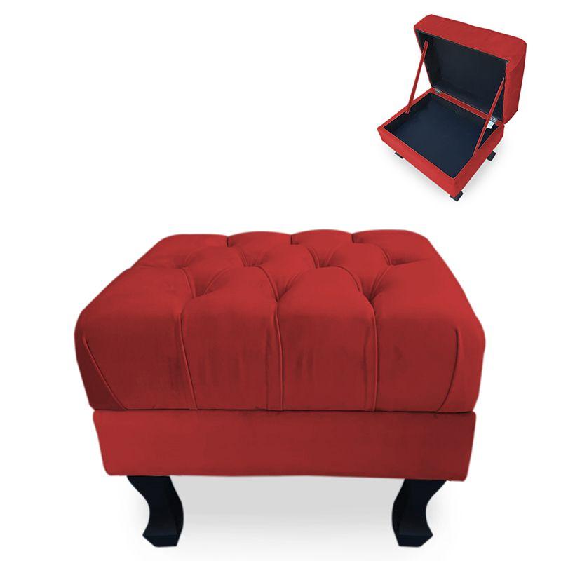 Puff Baú Decorativo Capitonê Luis XV 50x40cm Suede Vermelho - Sheep Estofados