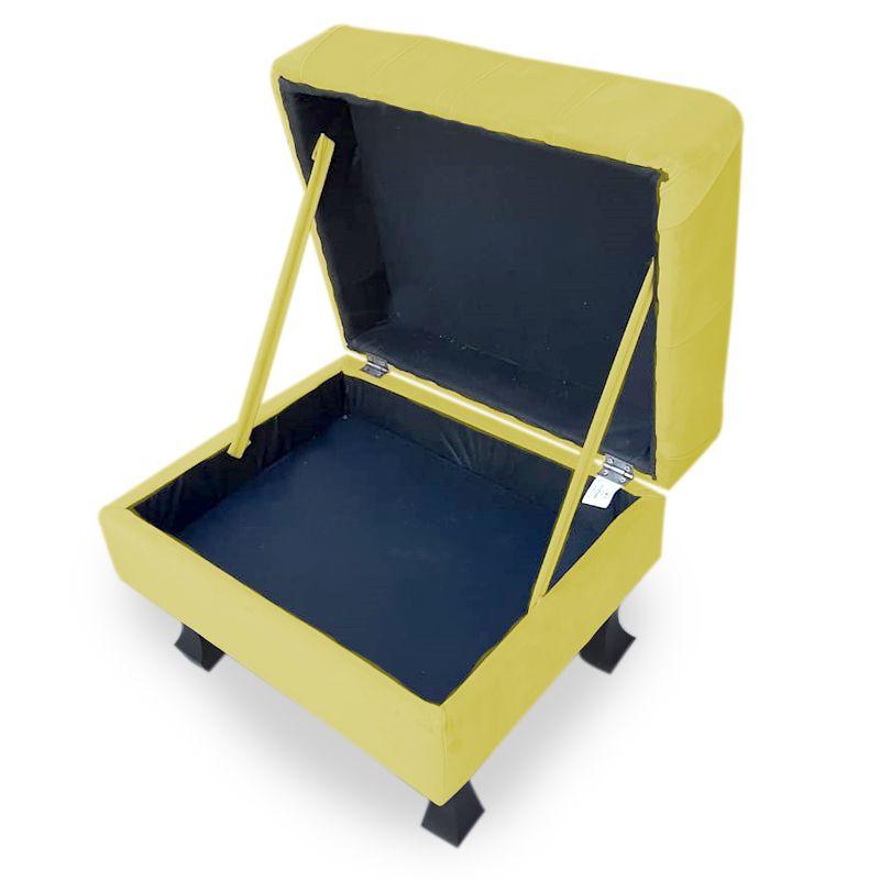 Puff Baú Decorativo Luis XV  Capitonê 60x50cm Suede Amarelo - Sheep Estofados