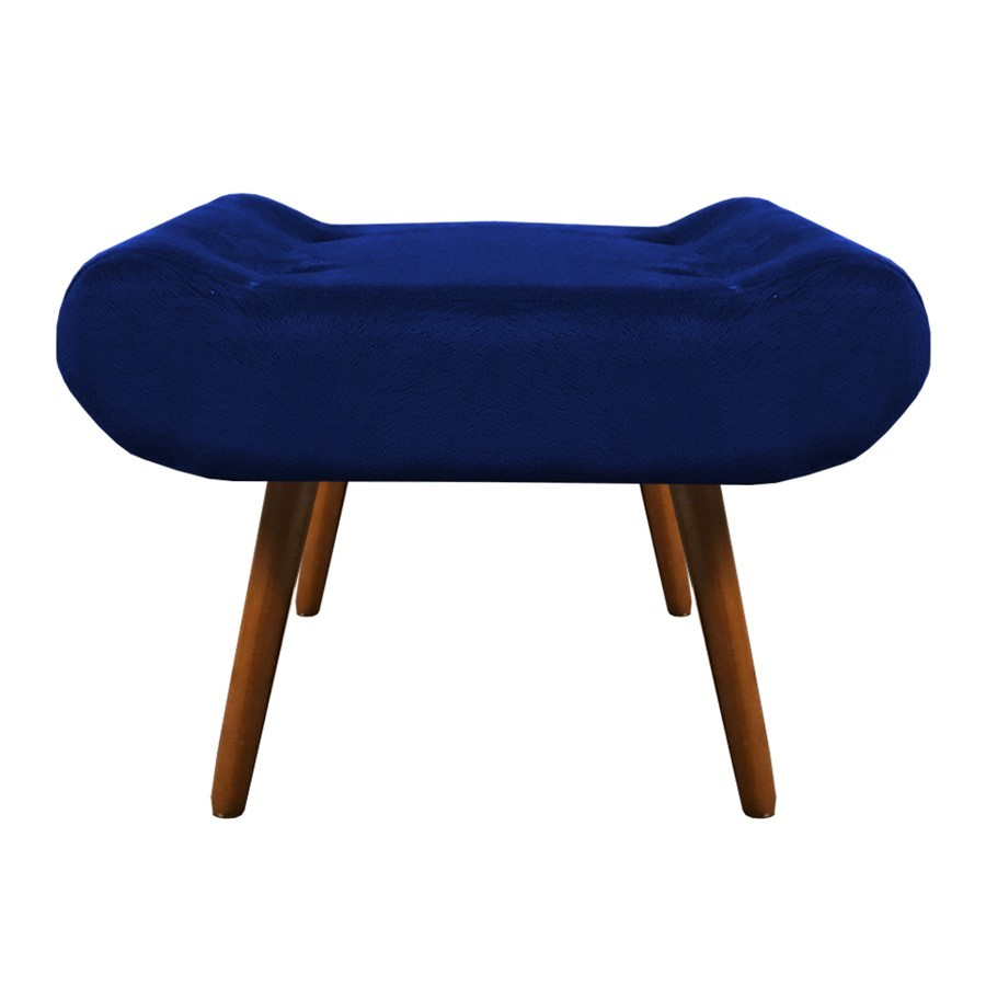 Puff Decorativo Muu Pés Palito Suede Azul Marinho - Sheep Estofados