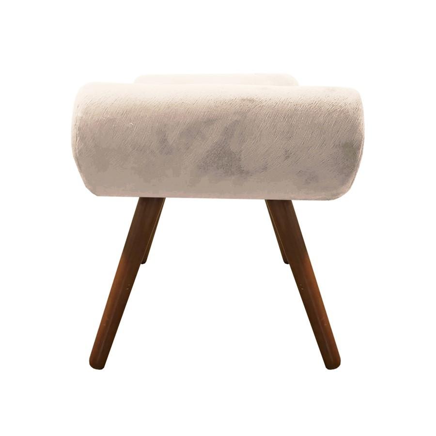 Puff Decorativo Muu Pés Palito Suede Bege - Sheep Estofados