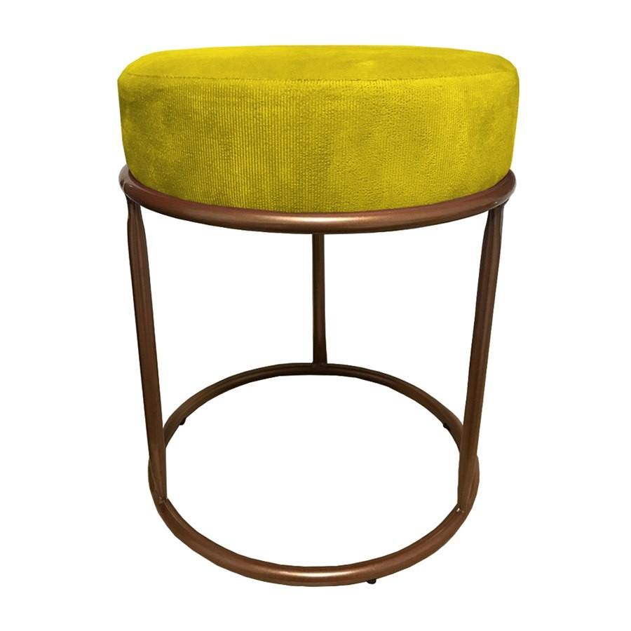 Puff Redondo Decorativo Luxe Base de Aço Cobre Suede Amarelo - Sheep Estofados
